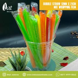 Bubble Straw 12MM X 21CM Mix Wrapping Film